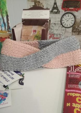 Вязанная повязка, повязка чалма, вязанная чалма