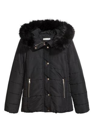 Утепленная черная короткая куртка h&m 10.m