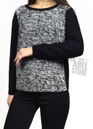 Джемпер свитер вязаный черно-белый brave soul