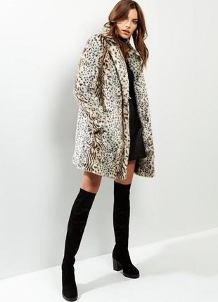 Трендовая леопардовая шубка, мягкая тёплая шуба искусственная new look,