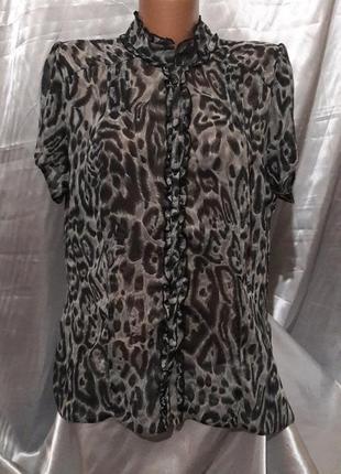Шифоновая леопардовая блуза