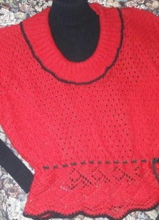 Тепленькая ангоровая кофта безрукавка со съемными рукавчиками