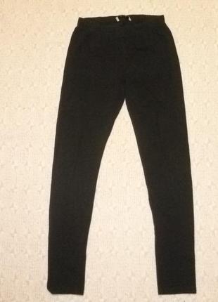Трикотажные плотные коттоновые лосины черные,универсальный s-l размер