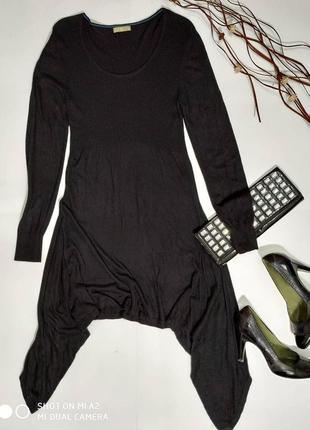 💜 вязаное платье с удлиненными углами по бокам