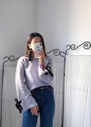 Лиловый свитер,джемпер с рукавами клёш и ленточками,свитерок