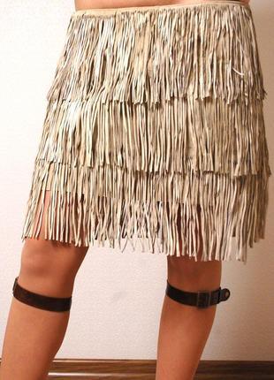 Италия!! эксклюзивная крутая юбка бахрома из натурального замша