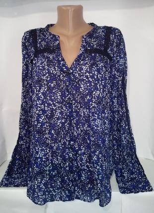 Хлопковая рубашка блуза в цветочный принт gap uk 12 / 40 /.m