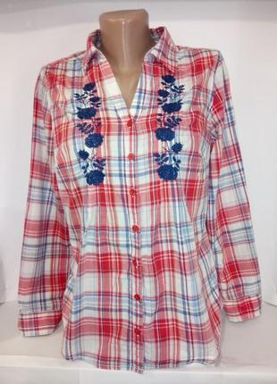 Рубашка блузка в клетку с вышивкой marks&spencer uk 12 / 40 /.m