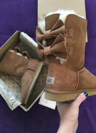 Ugg australia short double bow натуральные угги 38,39,49