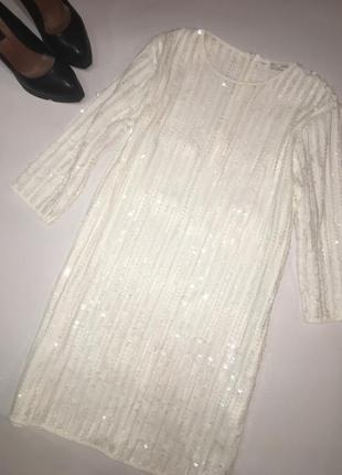 Красивейшее платье в пайетки от zara. праздничное платье -туника.