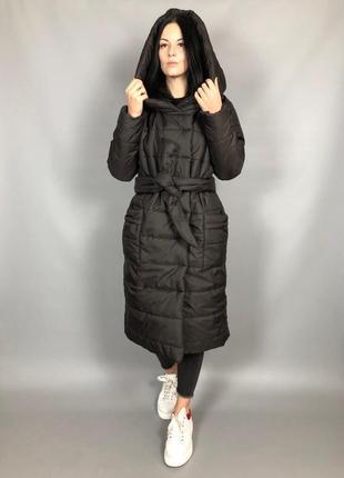 Куртка оверсайз под пояс или без зима горький шоколад