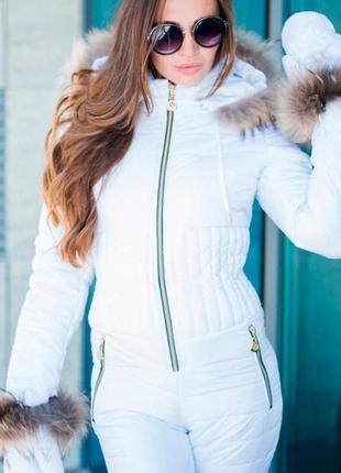 Белоснежный зимний комбинезон с натуральным мехом (видео)