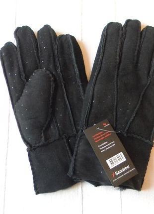 Женские кожаные перчатки на меху sandrou р.10 новые