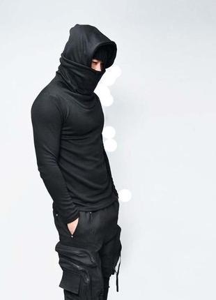 """Черная пайта c двойным воротом и капюшоном, зимняя.""""ninja""""2"""