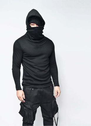 """Черная пайта c двойным воротом и капюшоном, зимняя.""""ninja"""""""
