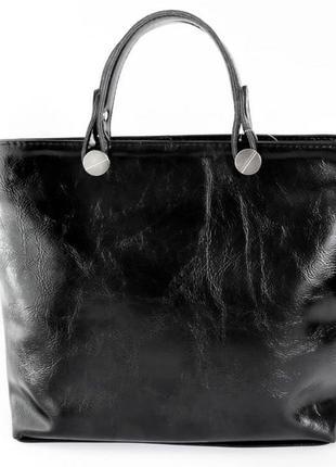 Чёрная женская стильная  деловая сумка с короткими ручками из экокожи