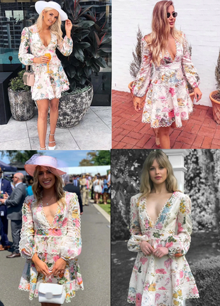 Брендовое платье принт цветы с кружевом