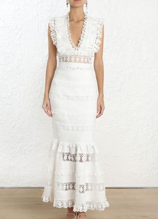 Модный белоснежный кружевной топ блуза