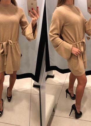 Тёплое вязаное платье песочного цвета mohito платье под пояс есть размеры
