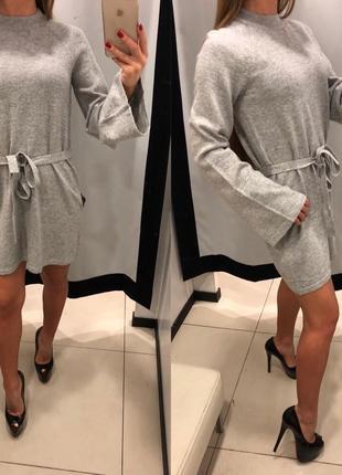 Серое вязаное платье mohito тёплое платье под пояс есть размеры