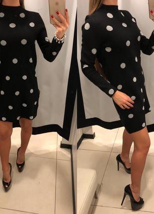 Плотное чёрное платье в горох mohito тёплое платье есть размеры