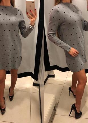 Серое платье с горлышком mohito тёплое платье в горох есть размерв