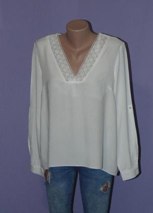 Белая натуральная блузочка с кружевом