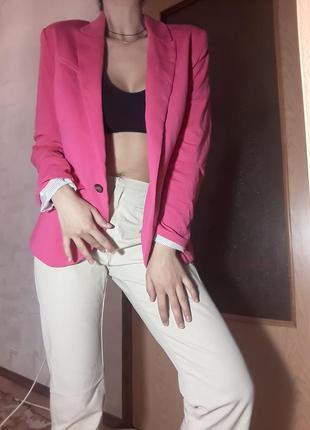 Жакет розовый, пиджак розовый, пиджак малиновый
