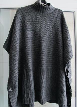 Стильное теплое вязаное пончо, свитер с горловиной без рукавов,кофта от бренда h&m.