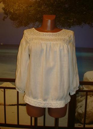 Рубашка льняная\лён с прошвой размер 8-10