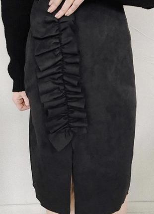 Шикарная юбка миди под замш new look