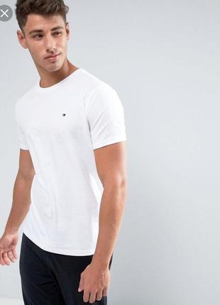 Оригинальная хлопковая футболка белая tommy hilfiger