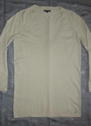 Кофта tommy hilfiger оригинал длинный свитер пуловер джемпер хлопок + кашемир