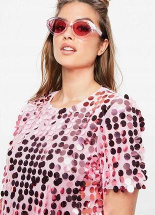 Нереально крутое шикарное вечернее новогоднее розовое платье в пайетках missguided