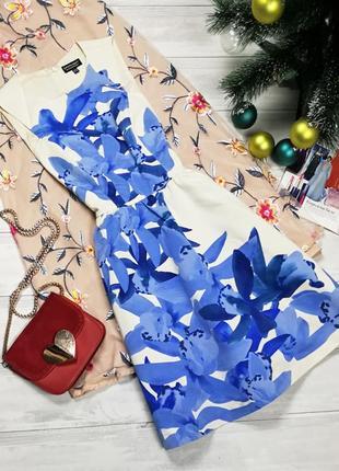 Красивенное платье в крупные цветы  111817  warehouse размер uk6/34 (xs)