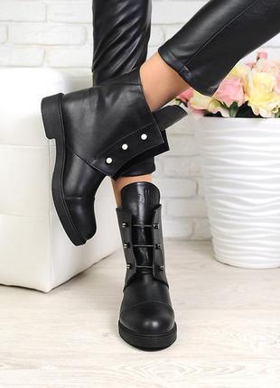 Крутые зимние кожаные ботинки на меху!!!!