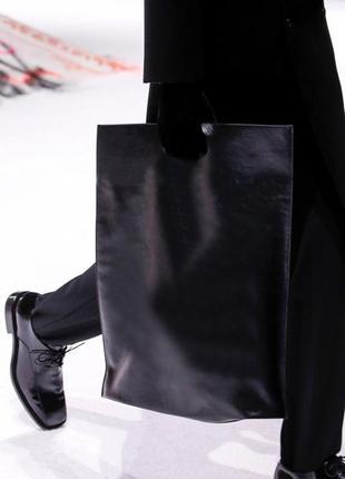 Кожаный пакет-сумка шоппер. мода 2019 г.