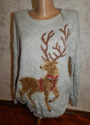 Marks&spencer свитер новогодний с оленем рl