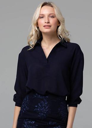Блуза с отложным воротником  размер темно-синяя s m l