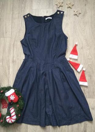 Джинсовое платье пышный джинсовый сарафан с карманами