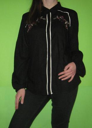 Сорочка віскозна чорна з вишивкою від g21, рубашка черная, розм. 14/xl