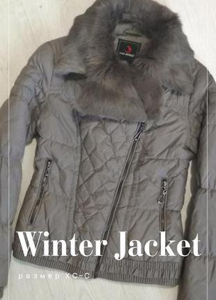 Очень теплый зимний пуховик куртка хс-с