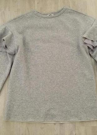 H&m длинный свитер джемпер свитшот с оборками, m-l3 фото