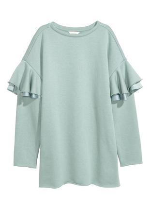H&m длинный свитер джемпер свитшот с оборками, m-l5 фото