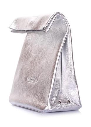 Мега стильный клатч,маленькая сумочка серебряная из 100% натуральной кожи