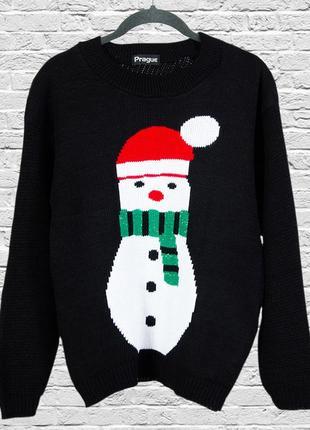 Черный свитер новогодний со снеговиком, новогодний джемпер черный