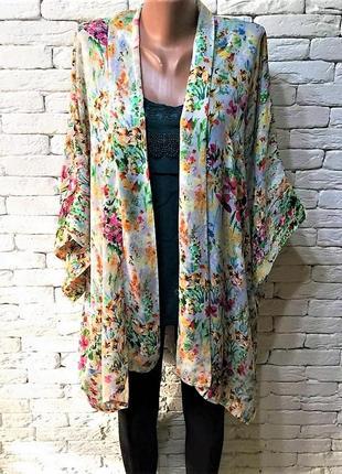 Блузон-кимоно,цветочный принт