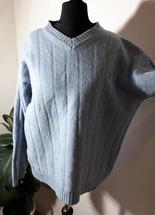 Теплющий плотный шерстяной свитер оверсайз gant италия