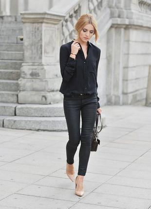 Базова чорна сорочка рубашка черная вискозная rainbow, пог 50см, розмір 40, l|xl