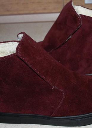 Зимові черевики натур. замша - шерсть. р.40 - 25,5-26см